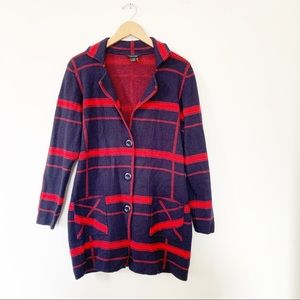 Alison Sheri Red Navy Felted Sweater Coat